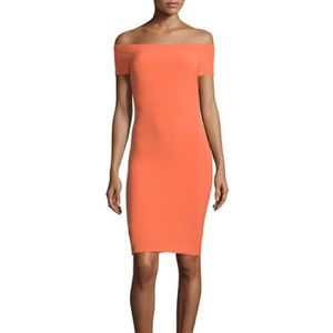 Alice + Olivia Aleah Ponte Orange Sheath Dress